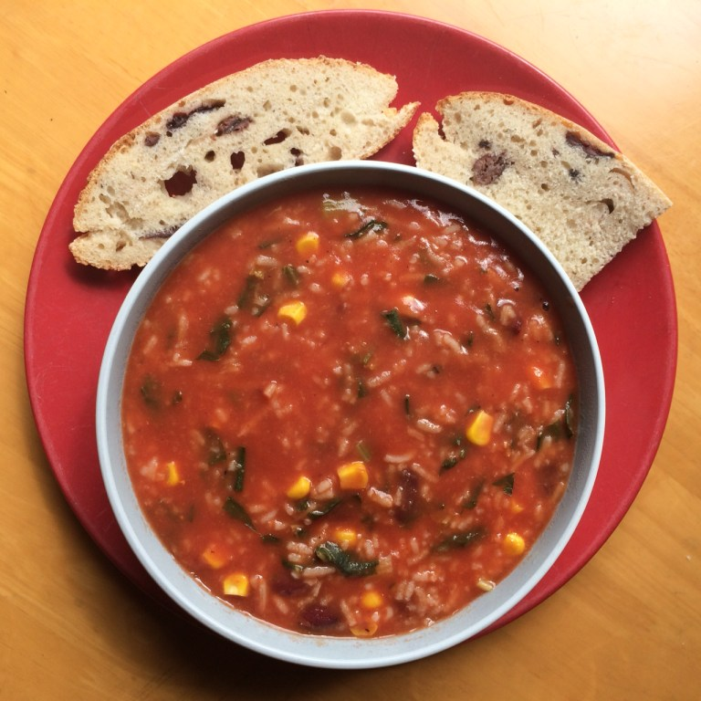 sourdough olive bread with rice and tomato soup