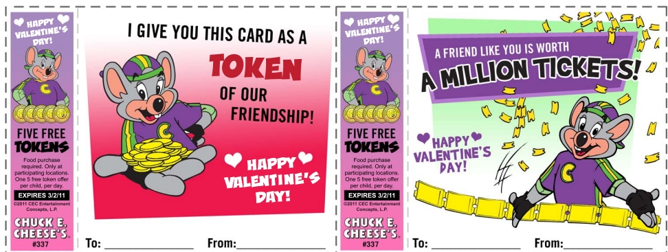 FREE Chuck E Cheese Valentines And Tokens