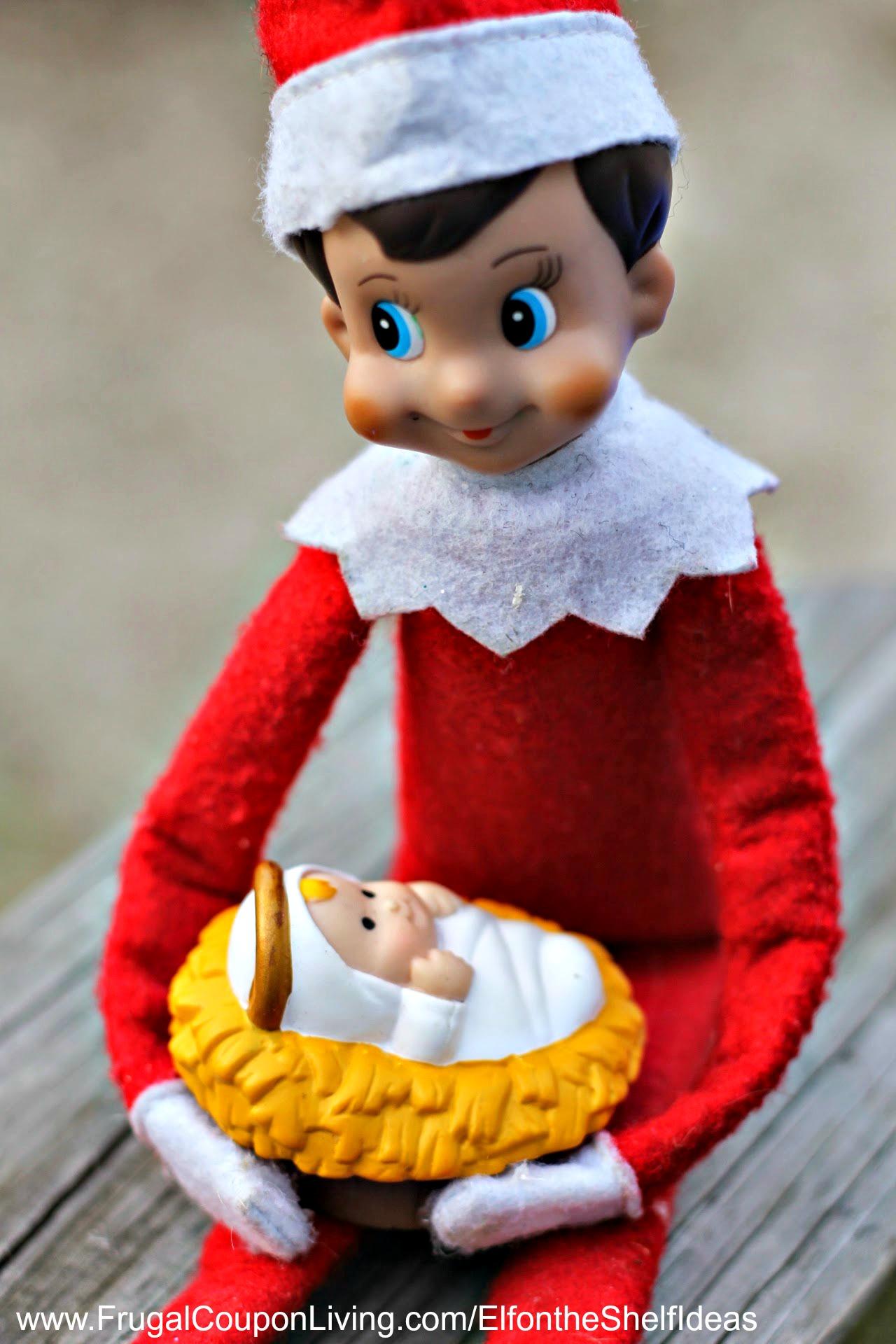 Elf On The Shelf Ideas Elf Cradles Baby Jesus