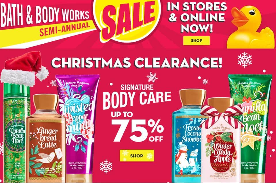 Bath Amp Body Works Semi Annual Sale Up To 75 Off