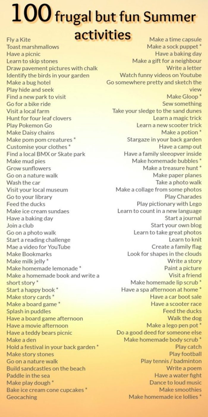 100 frugal but fun Summer activities to keep the kids occupied during the Summer holidays. We've done them all but the ones with the star next to them have a blog post about them over on my blog. You can click through to the post and then search for what you want using the search bar at the top of the page. Have fun