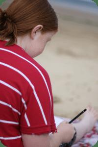 sketching at the beach