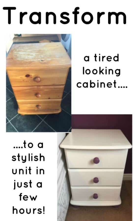 Transform a tired looking cabinet into a stylish unit in just a few hours with hardly any effort and very little money!