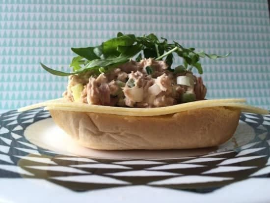 delicious open tuna crunch sandwich