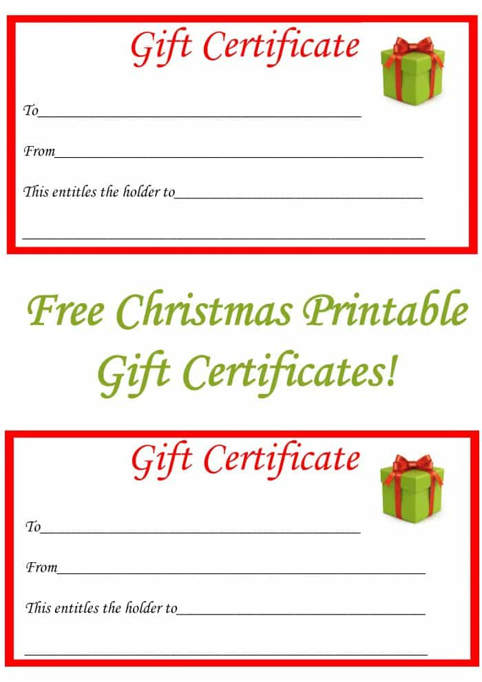 Free Christmas Printable Gift Certificates . - The Diary Of A