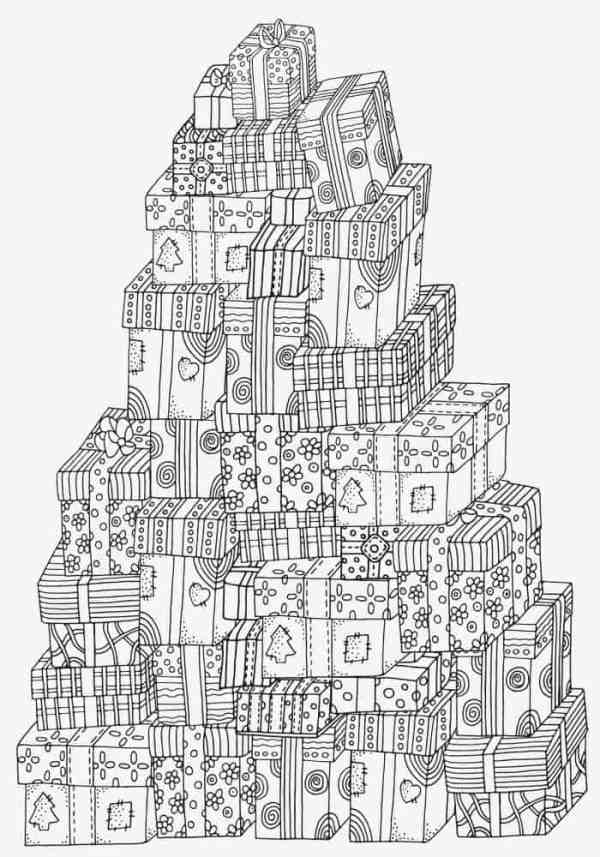 Pile of Christmas presents colouring page