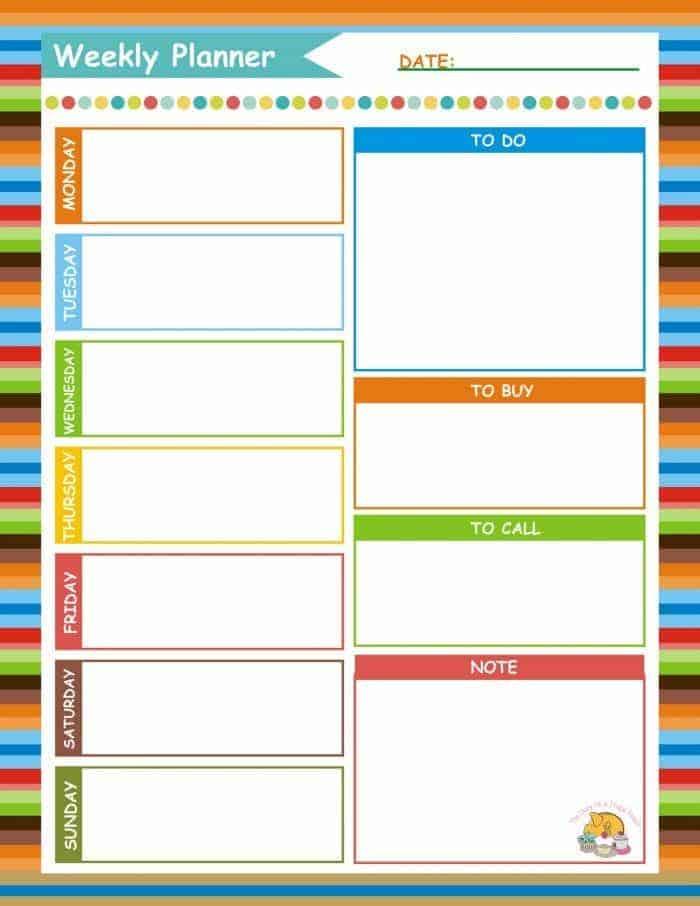 Weekly Planner {Free Printable}....