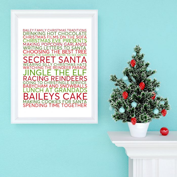 personalised family christmas traditions poster