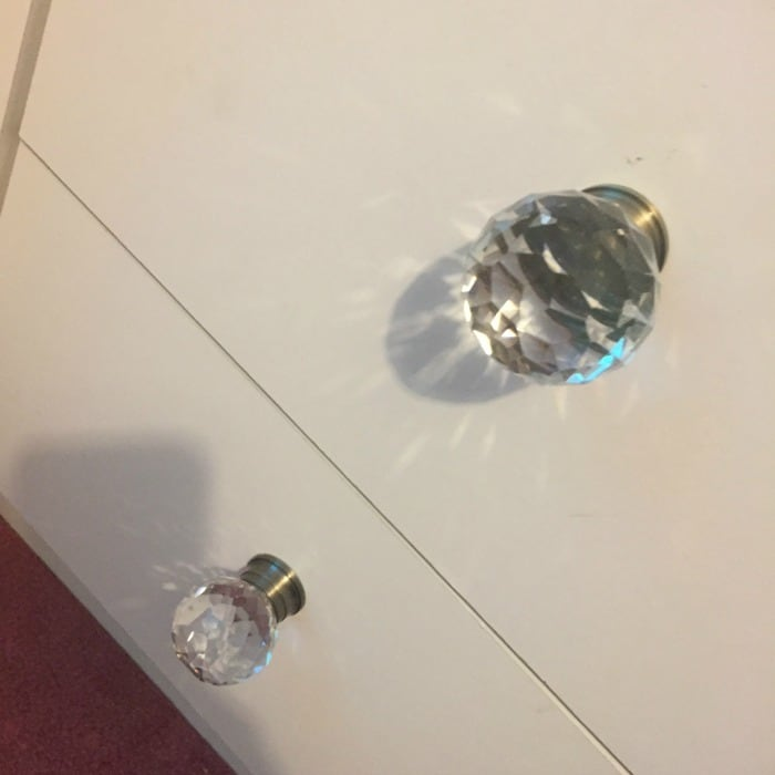 10 ways to revamp tired furniture the diary of a for Crystal bureau knobs
