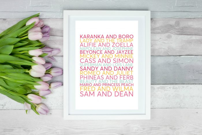 Thrifty Valentines Day personalised couples print
