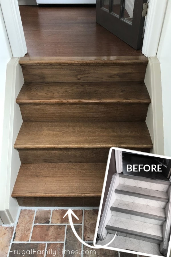 Diy Stairs Makeover How To Install Wood Treads Risers Over Old | Wood Treads And Risers | Step | Coretec Plus | Light Oak | Remodel | Custom