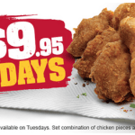 DEAL: KFC – 9 pieces for $9.95 Tuesdays (starts 25 September 2018)