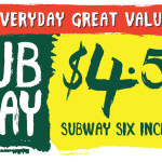 DEAL: Subway $4.50 Sub Of The Day