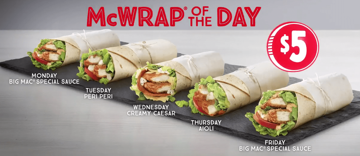 DEAL: McDonald's $5 Wrap of the Day | frugal feeds