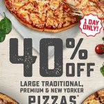 DEAL: Domino's 40% off Large Traditional & Premium Pizzas (19 June 2019)