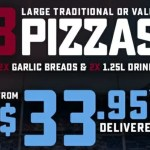 DEAL: Domino's – 3 Traditional Pizzas, 2 Garlic Breads & 2 1.25L Drinks $33.95 Delivered (6 December 2019)