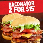 DEAL: Hungry Jack's – 2 Baconator Bacon Deluxe for $15 through Menulog (until 30 September 2019)