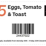 DEAL: The Coffee Club – $5 Eggs, Tomato & Toast (16 to 20 December 2019)