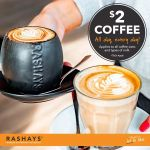 DEAL: Rashays – $2 Coffees (Any Size)