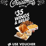 DEAL: Red Rooster – $35 Wings and Bread (13 to 17 December 2019 – 25 Days of Christmas)