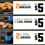 DEAL: Domino's – 2 Garlic Breads $5, 2 1.25L Drinks $5, Garlic Bread + 1.25L Drink $5 (until 6 April 2020)