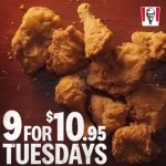 DEAL: KFC – 9 pieces for $10.95 Tuesdays in WA (KFC App)
