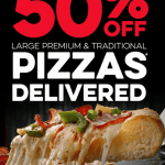 DEAL: Domino's – 50% off Large Traditional & Premium Pizzas Delivered at Selected Stores (until 24 May 2020)
