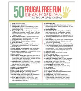 50 Frugal Free Fun Ideas For Kids | Frugal Fun Mom