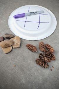 Pinecone Rock Tic Tac Toe For Kids | Frugal Fun Mom