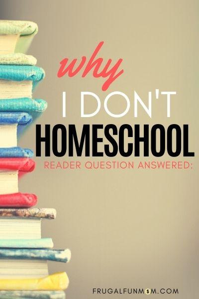 Why I Don't Homeschool | Frugal Fun Mom