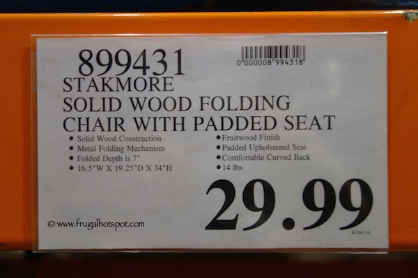 costco wooden folding chairs chair covers and bows for wedding stakmore solid wood with padded seat price