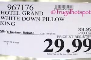 costco sale hotel grand white down pillow