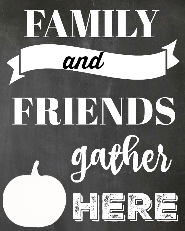 photograph about Gather Printable titled Free of charge Chalkboard Tumble Printable - Buddies Family members Assemble In this article