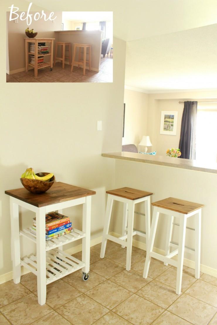 kitchen furniture ikea cabico cabinets hack makeover frugal mom eh bosse stool and bekvam cart