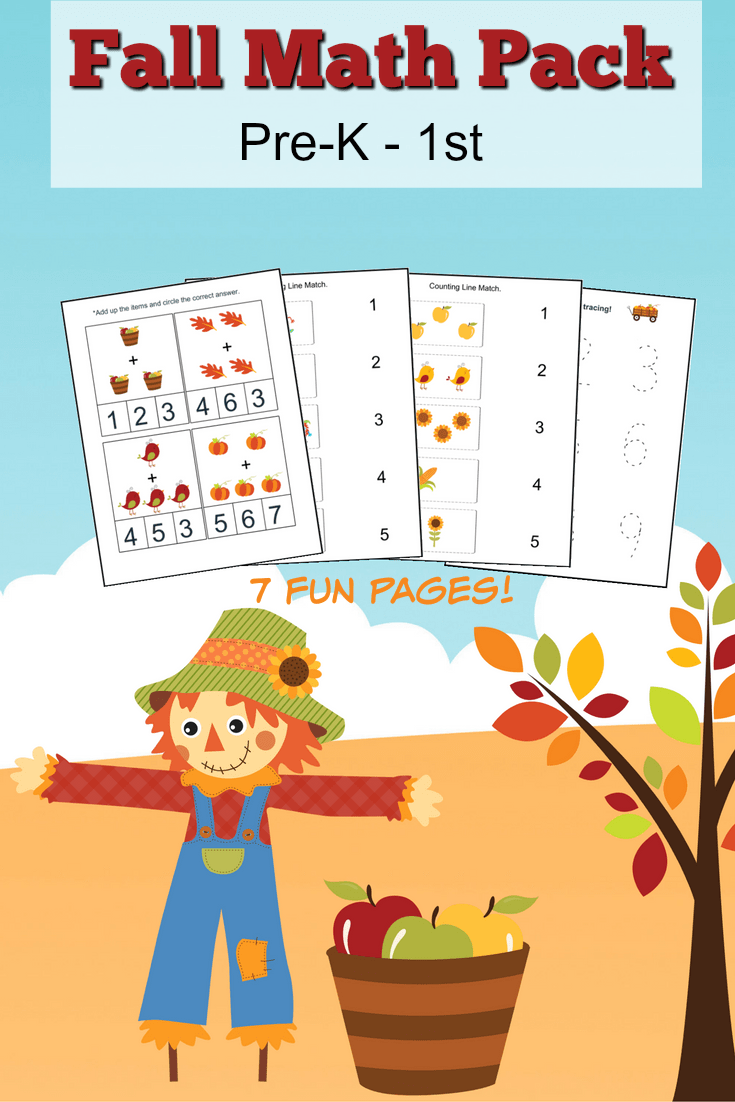 medium resolution of Fall Math Worksheets for Pre-K to 1st Grade - Frugal Mom Eh!