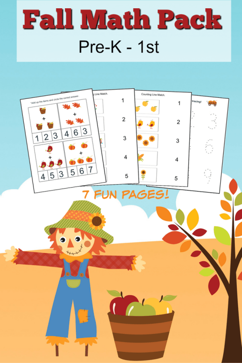 small resolution of Fall Math Worksheets for Pre-K to 1st Grade - Frugal Mom Eh!