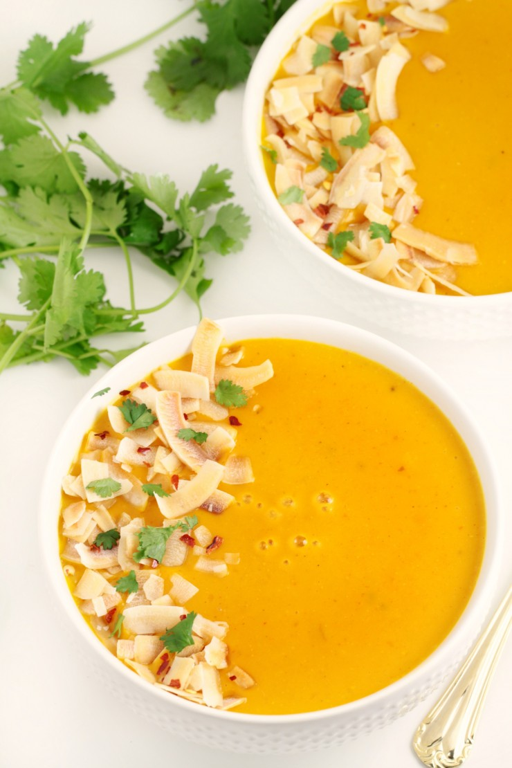 curried creamy butternut squash soup made with thai inspired