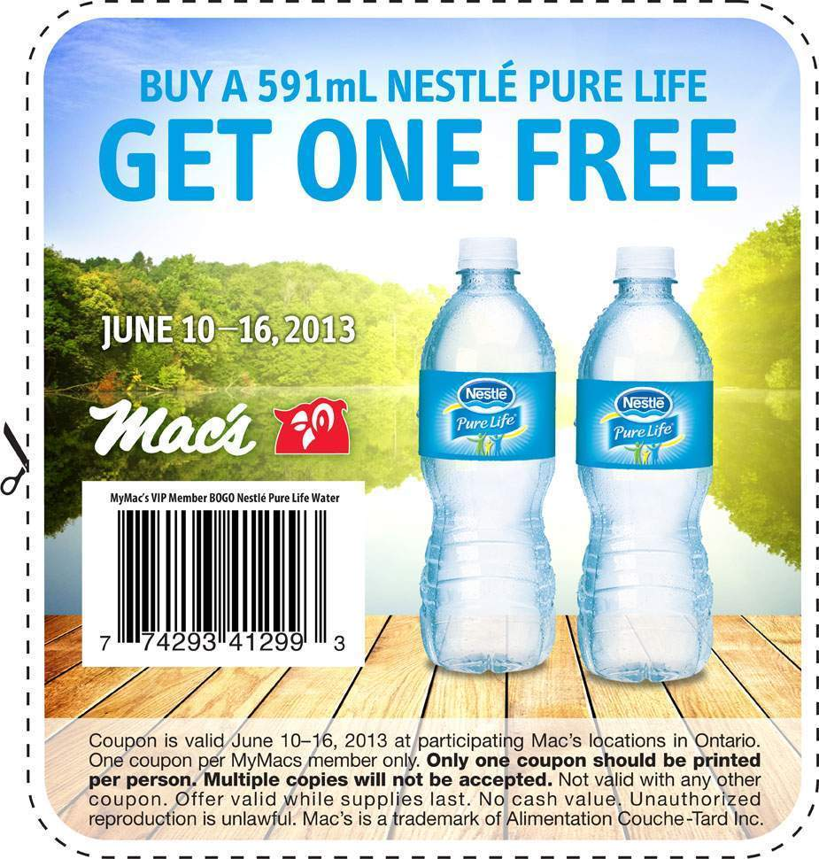Canadian Coupons ~ BOGO FREE Nestle Pure Life! | Fru-Gals