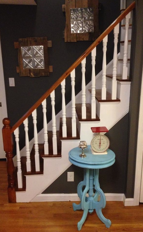 How To Refinish A Staircase For Under 50 Frugalwoods   Carpeted Stairs With Wood End Caps   Stair Railing   Waterfall   Diy   Capped   Step