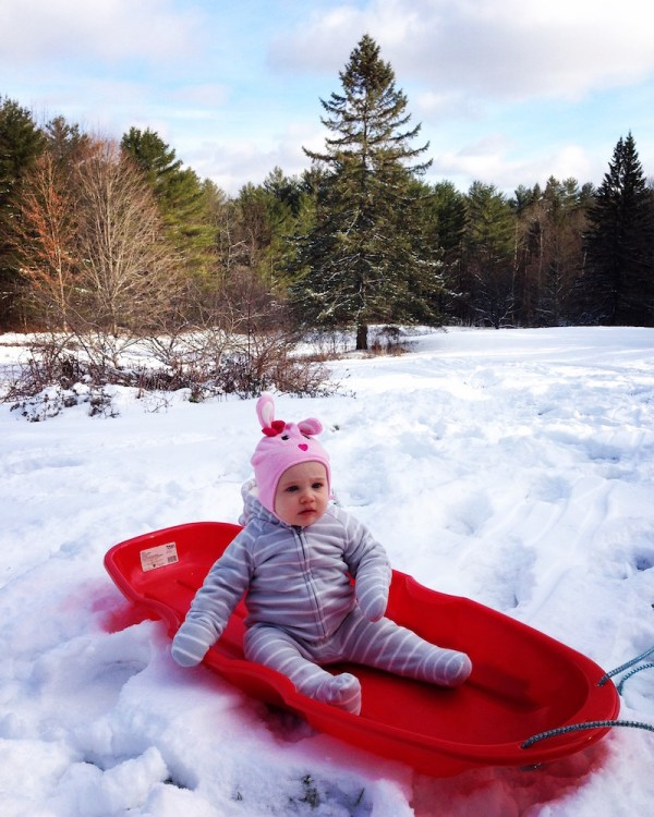 Recreate In Winter Gear Mindset And Baby Sled - Frugalwoods