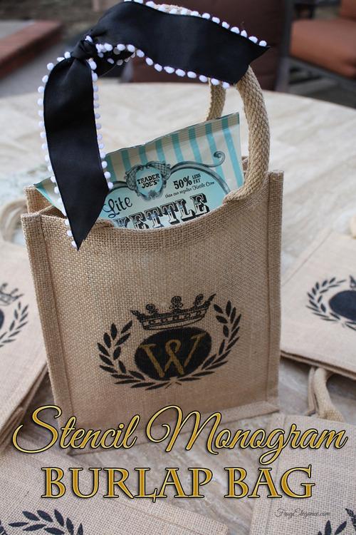 Stenciled Burlap Goodie Bags FrugElegance