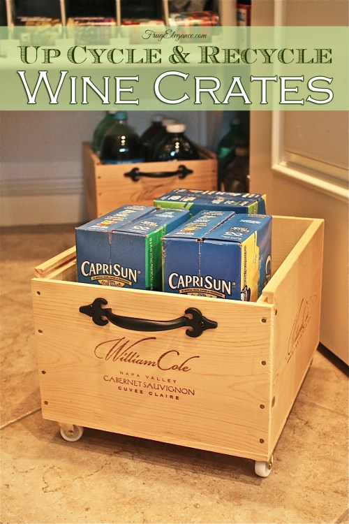 Wine Crate Up Cycle to Pantry Organizers | www.frugelegance.com