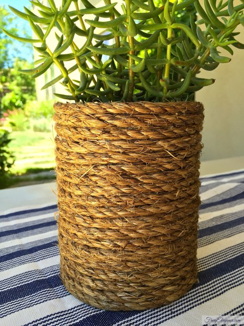 Easy DIY Decor: Rope Wrapped Cans | www.frugelegance.com