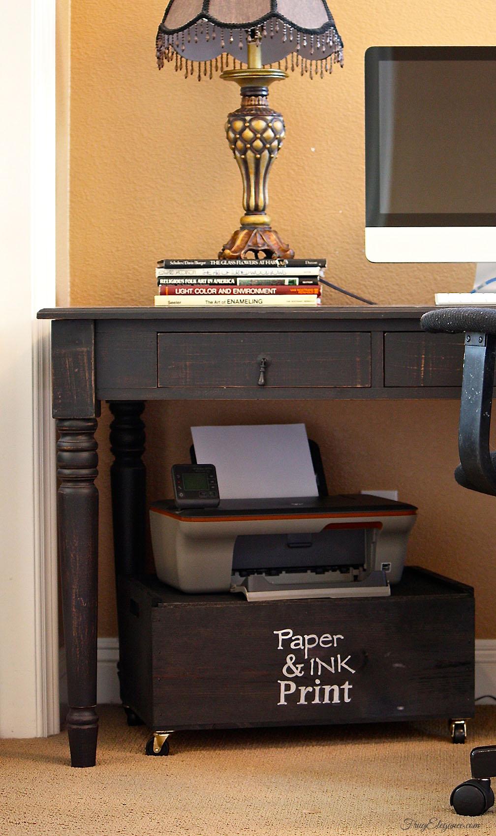 Wine Crate Home Office Printer Stand Amp Storage Frugelegance