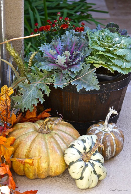Easy Fall Outdoor Decor | FrugElegance | www.frugelegance.com