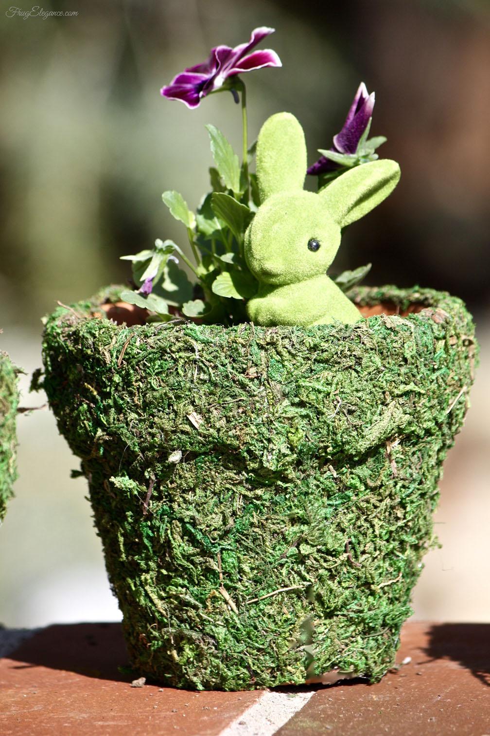 Spring Moss Covered Pots from Frugelegance