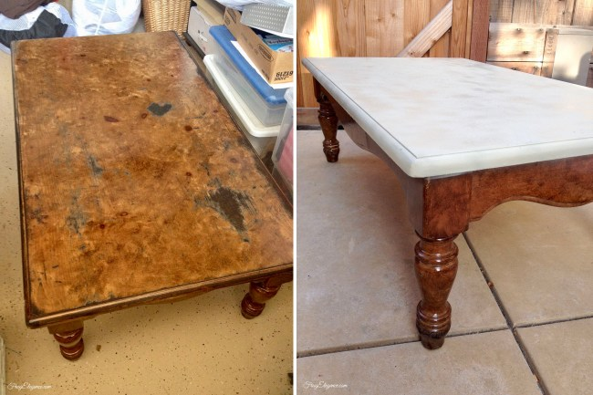 Old Table Turned Into New Ottoman by FrugElegance.com