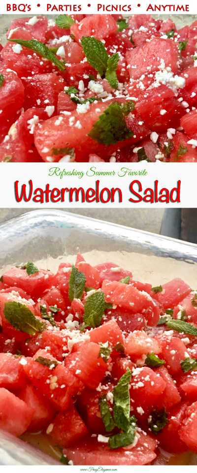 Refreshing Summer Favorite: Watermelon Salad at FrugElegance.com