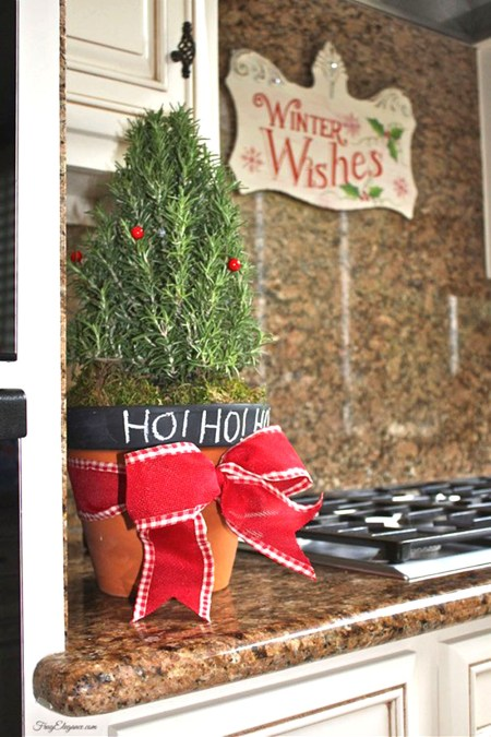 Christmas Kitchen Decor with a Potted Rosemary Plant | FrugElegance | www.frugelegance.com