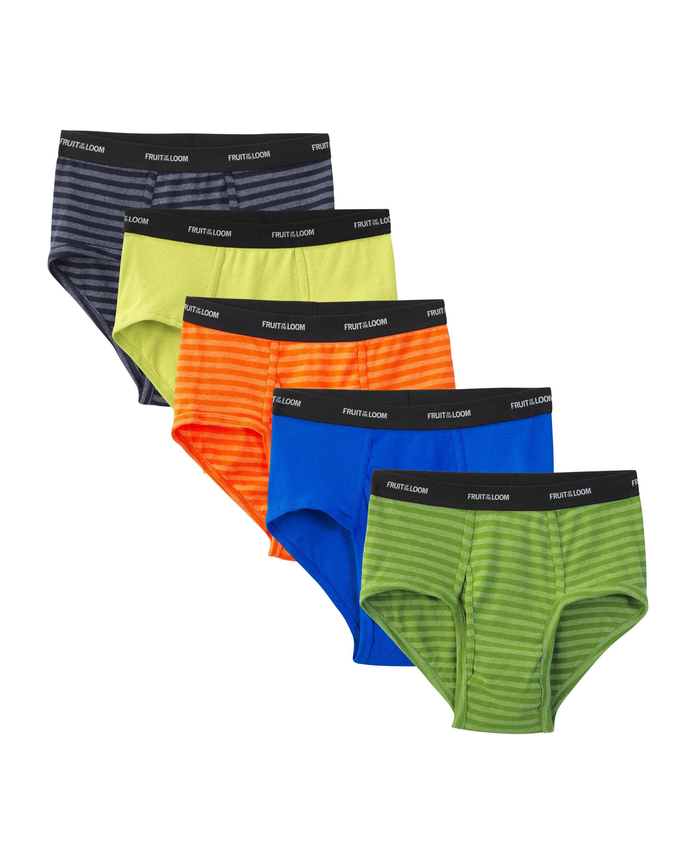 Men' 5 Pack Stripes Solids Fashion Briefs Extended Sizes - Fruit